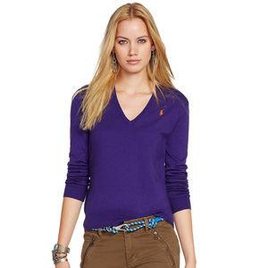 Purple Cotton Blend V-Neck Pony Sweater M
